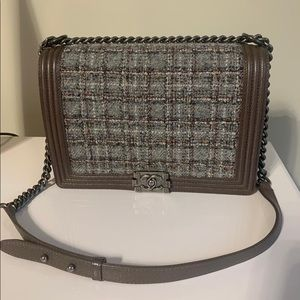 CHANEL Bags - Chanel Le Boy Large Size Tweed with leather
